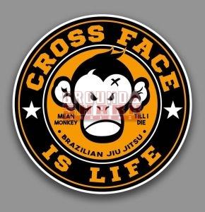 mean monkey cross face sticker