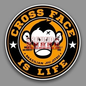 mean monkey cross face sticker